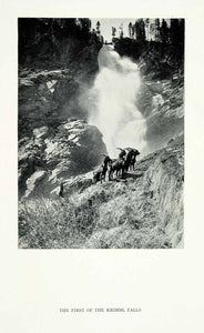 1928 Print First Krimml Falls Mountain Goats Waterfall Rocks Austria XGGA7