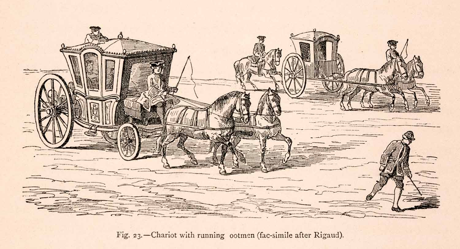 1876 Wood Engraving Chariot Carriage Horse French 18th Century XGGA9