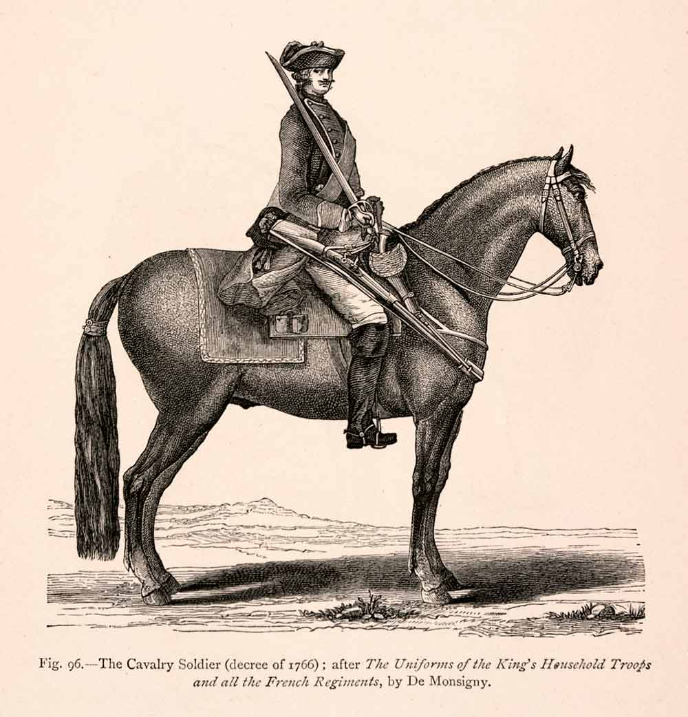 1876 Wood Engraving Cavalry Solider Equestrian 18th Century Uniform Musket XGGA9