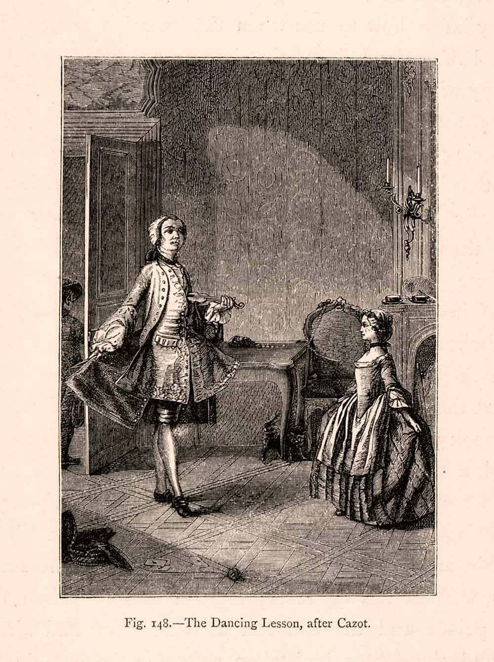 1876 Wood Engraving Dance Lesson Czot Child 18th Century France Instructor XGGA9