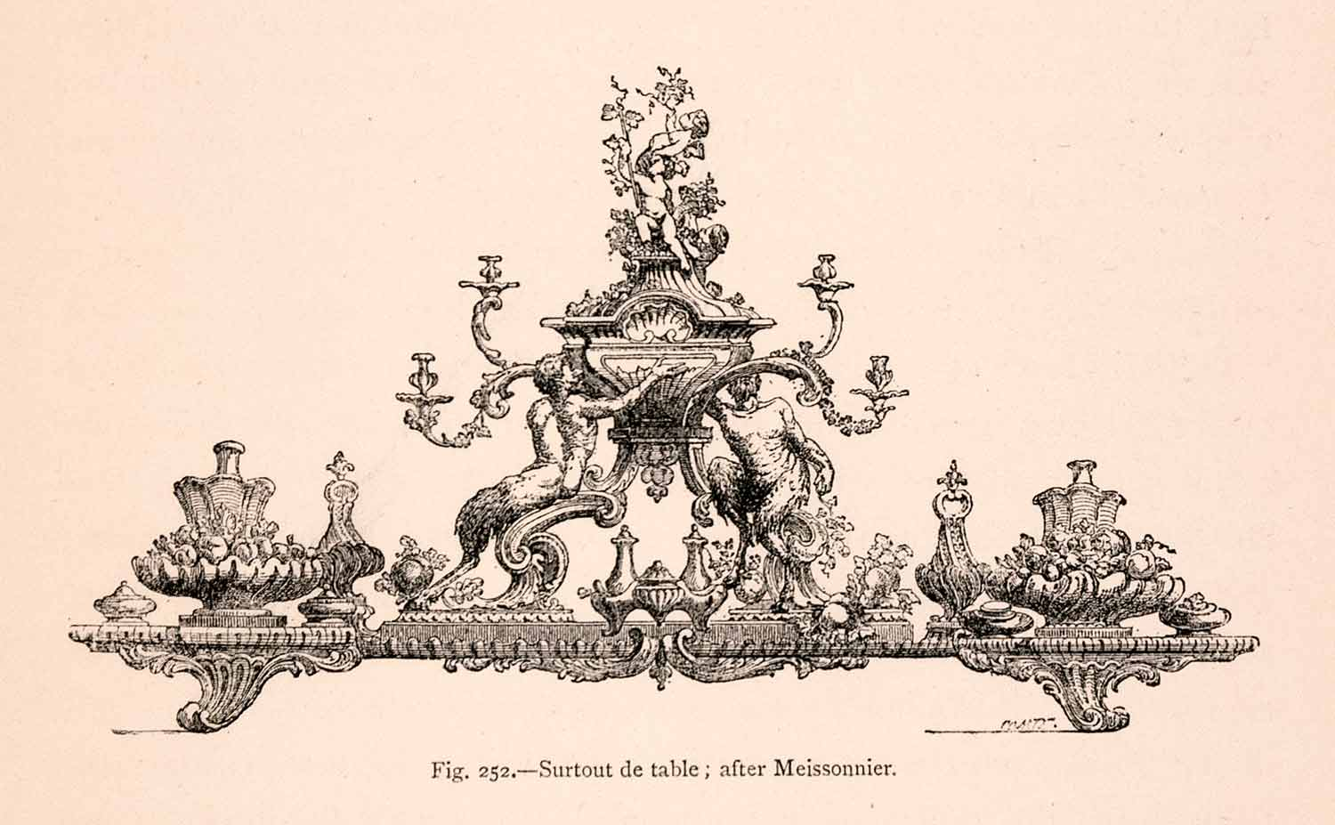 1876 Wood Engraving Surtout Table 18th Century French Ornate Rococo XGGA9