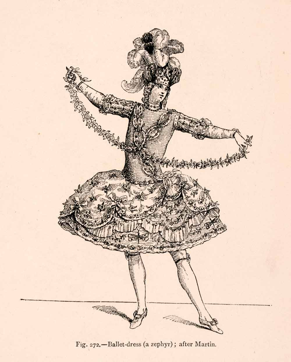 1876 Wood Engraving Ballet Dress Zephyr Martin Costume 18th Century France XGGA9