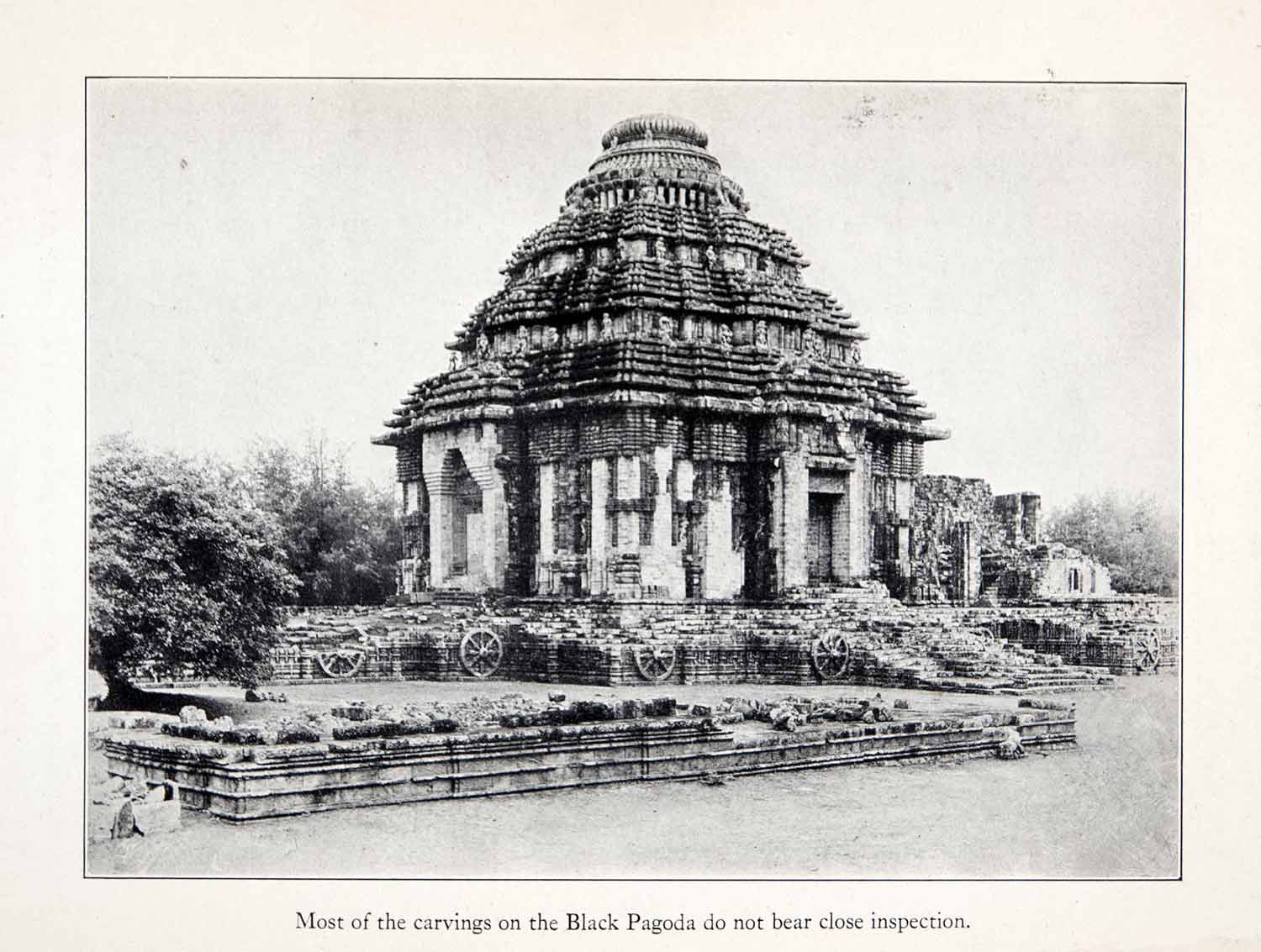 1930 Print Konark Sun Temple Historic Architecture Religion Black Pagoda XGGB6