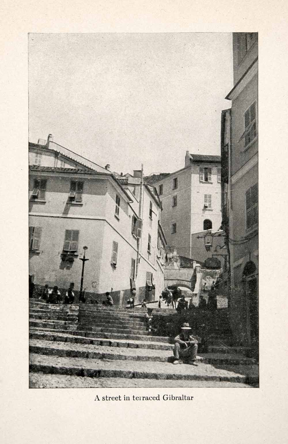 1911 Print Gibraltar Iberian Peninsula Britain Street Spain Neighborhood XGGB9