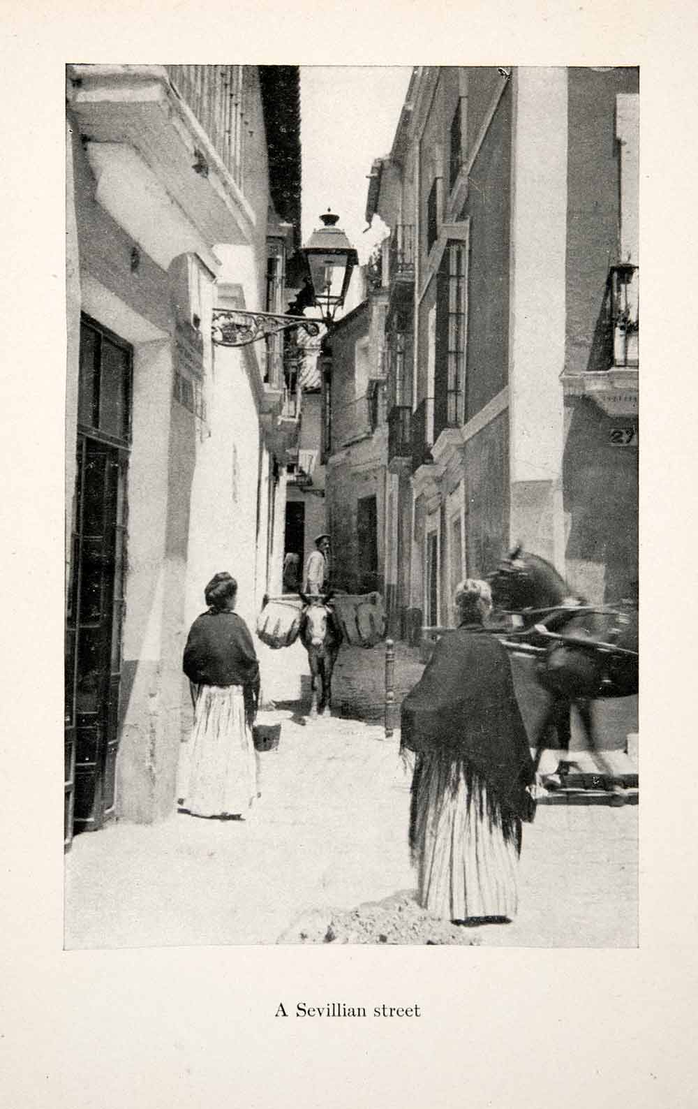 1911 Print Seville Sevilla Spain Andalusia Street Neighborhood Donkey XGGB9