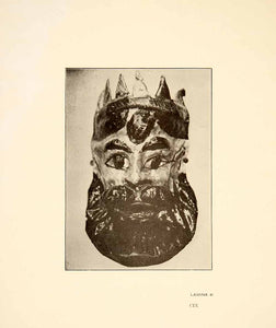 1926 Print Anceint Pasteboard Tribal Mask King Royalty Mexico City Tribe XGGC4