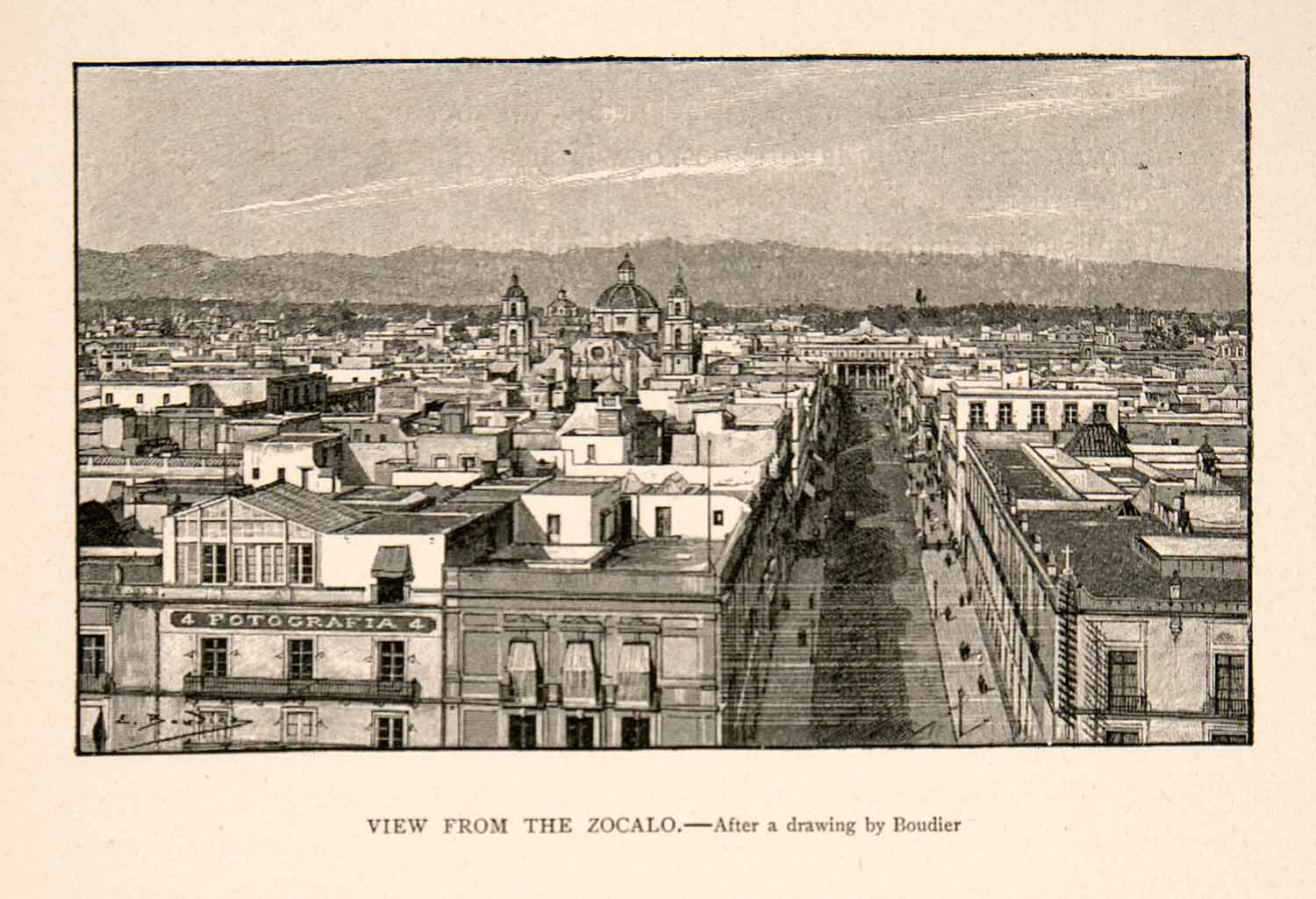 1894 Print Mexico City Zocalo Plaza Arms Square Vista Catedral Cathedral XGGC5