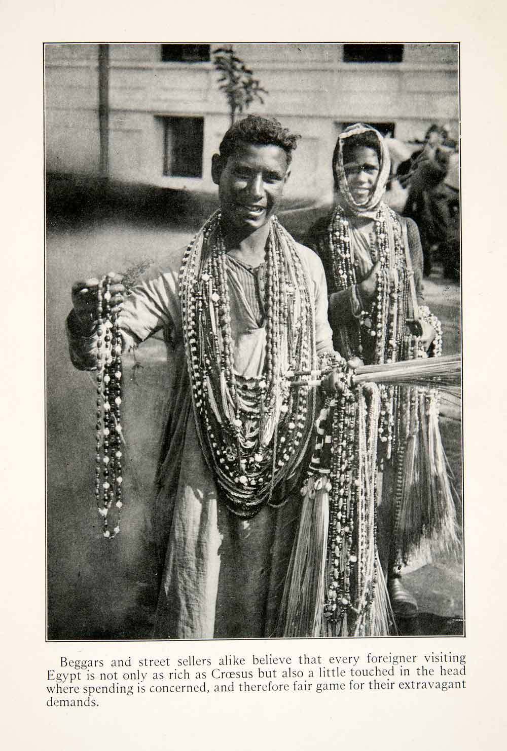 1923 Print Bead Sellers Cairo Egypt Indigenous People Costume Tourism XGGC9