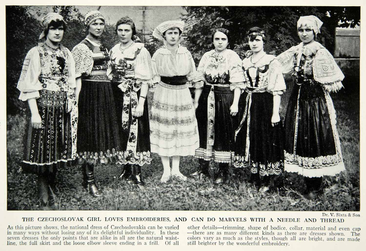 1938 Print Czechoslovakian Women Traditional Dress Costume Embroidery View XGGD4