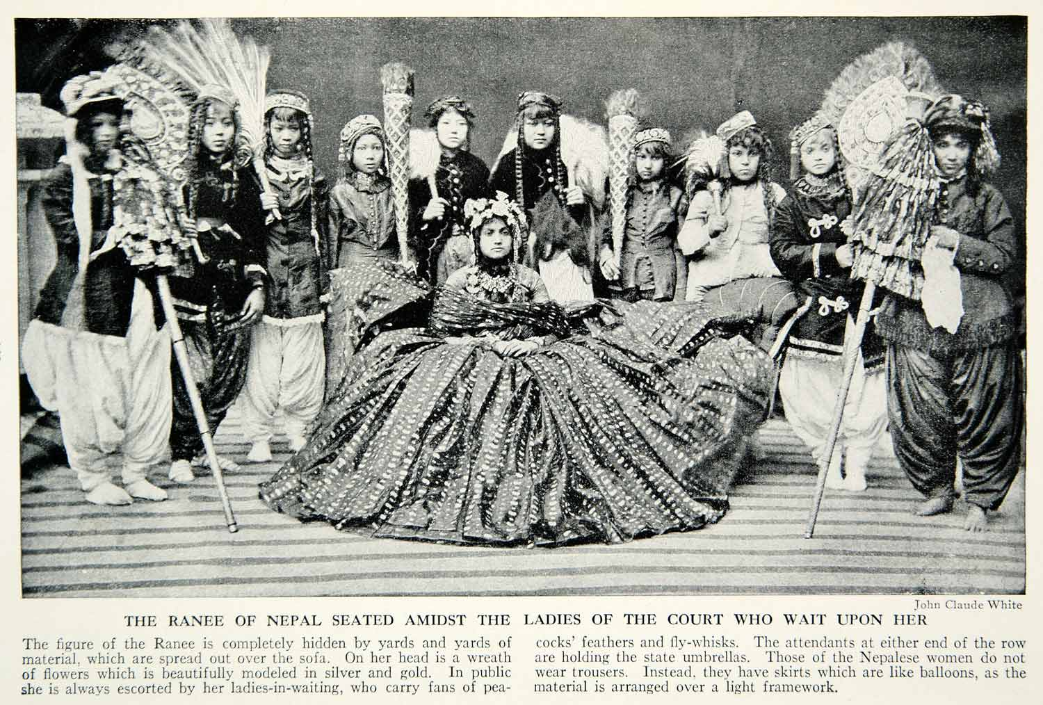 1938 Print Ranee Queen Nepal Court Ladies Royalty Historical Traditional XGGD4