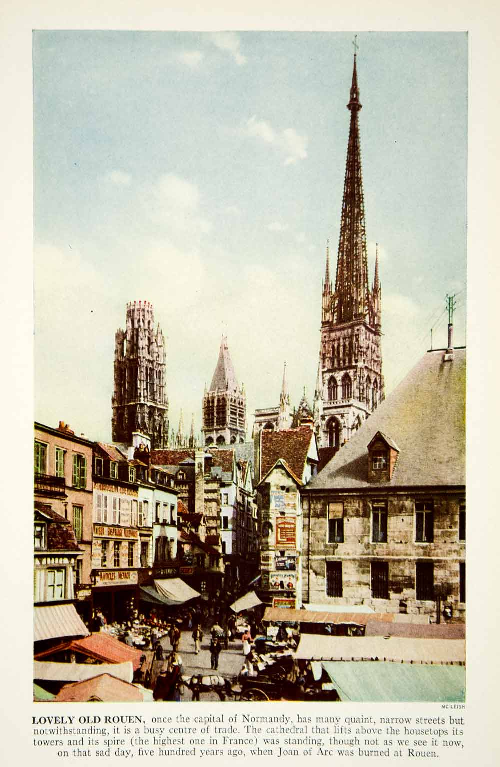 1938 Color Print Rouen France Cathedral Architecture Street View Historic XGGD4