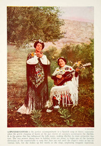 1938 Color Print Spanish Guitar Women Costume Traditional Dress Historical XGGD4