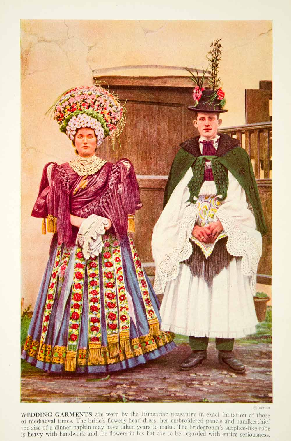 1938 Color Print Hungarian Wedding Costume Traditional ...