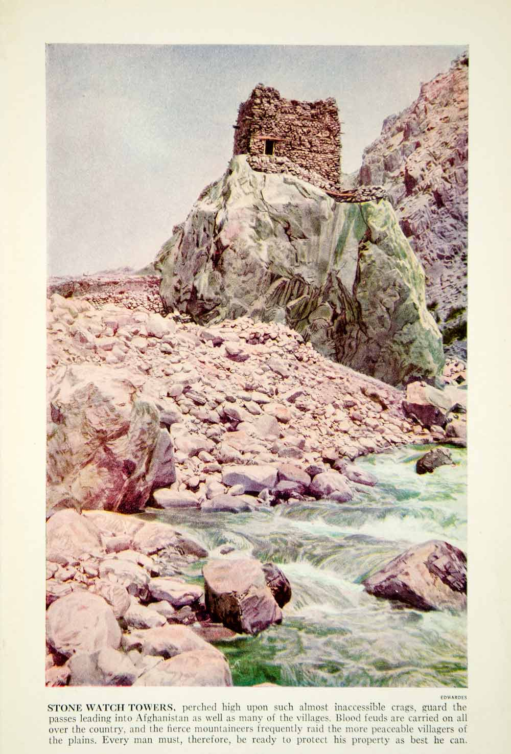 1938 Color Print Stone Watch Tower Afghanistan Archeology Historical Image XGGD4