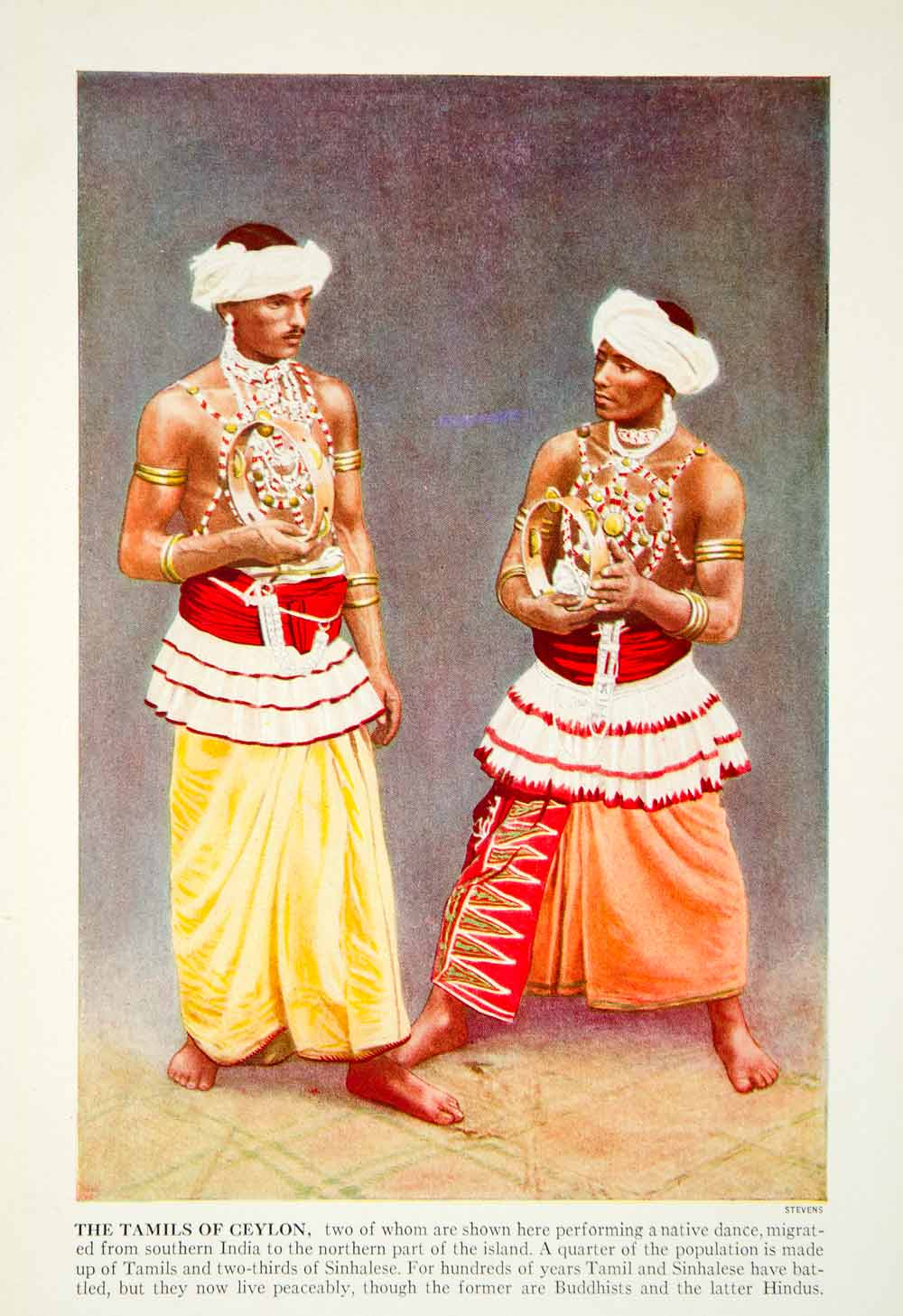 1938 Color Print Tamils Ceylon Traditional Dress Dancer India Historical XGGD4