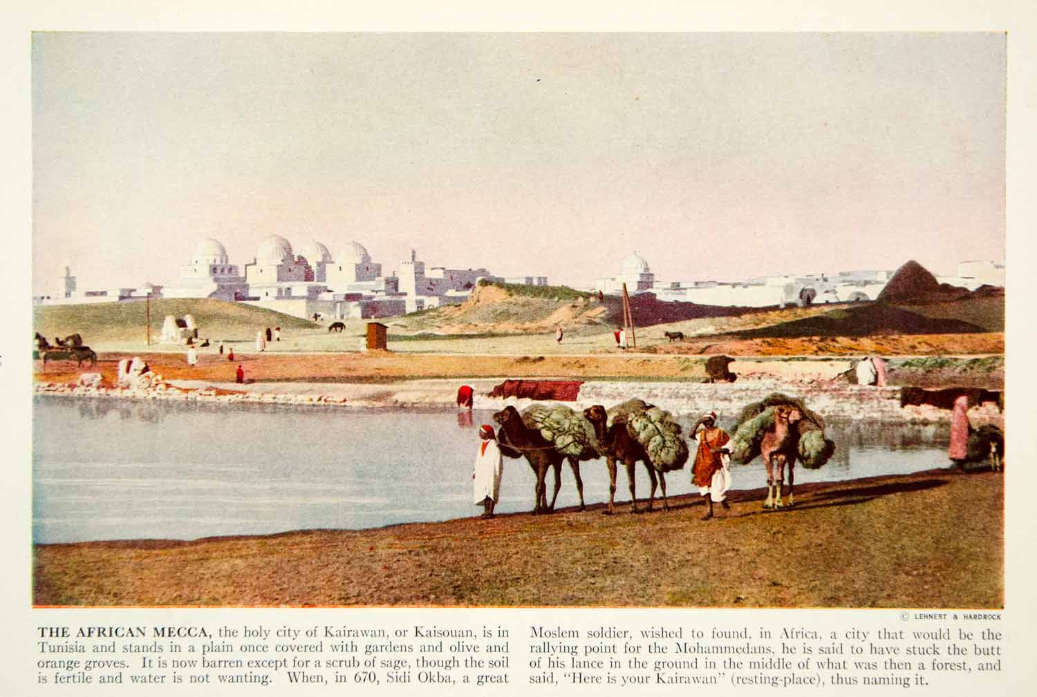 1938 Color Print Kairouan Tunisia Africa Cityscape Great Mosque Camel XGGD5