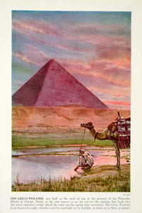 1938 Color Print Great Pyramid Giza Pharaoh Khufu Cheops Egypt Africa Nile XGGD5