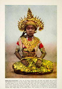 1938 Color Print Portrait Bali Dancer Girl Costume Ethnic Indonesia XGGD5