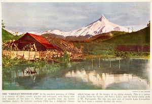 1938 Color Print Lake Todos Los Santos Chile South America Volcano XGGD5