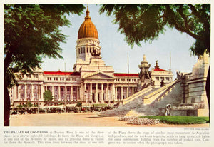 1938 Color Print Palace National Congress Buenos Aires Argentina South XGGD5