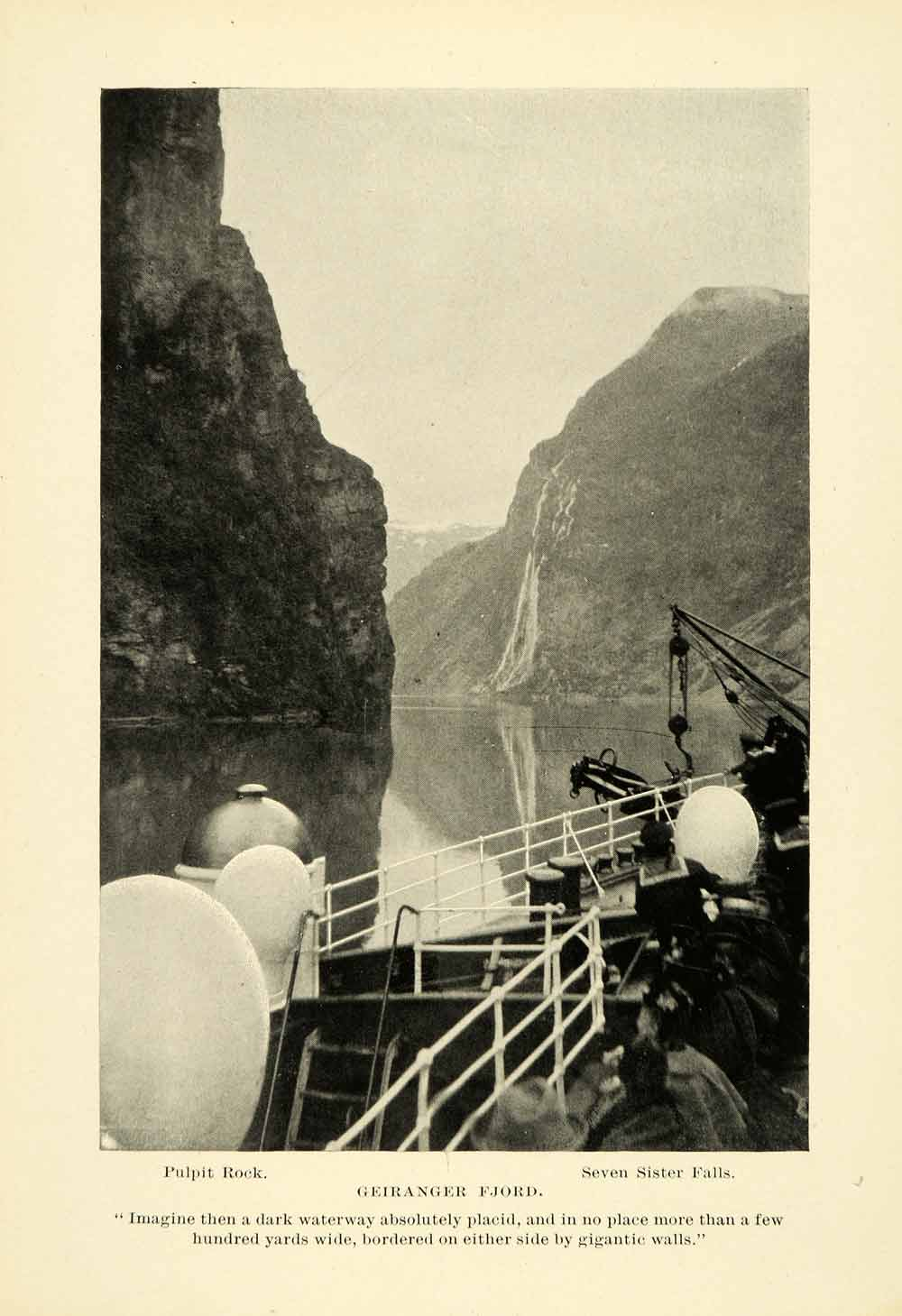 1896 Halftone Print Geirangerfjord Pulpit Rock Seven Sister Waterfalls XGH3