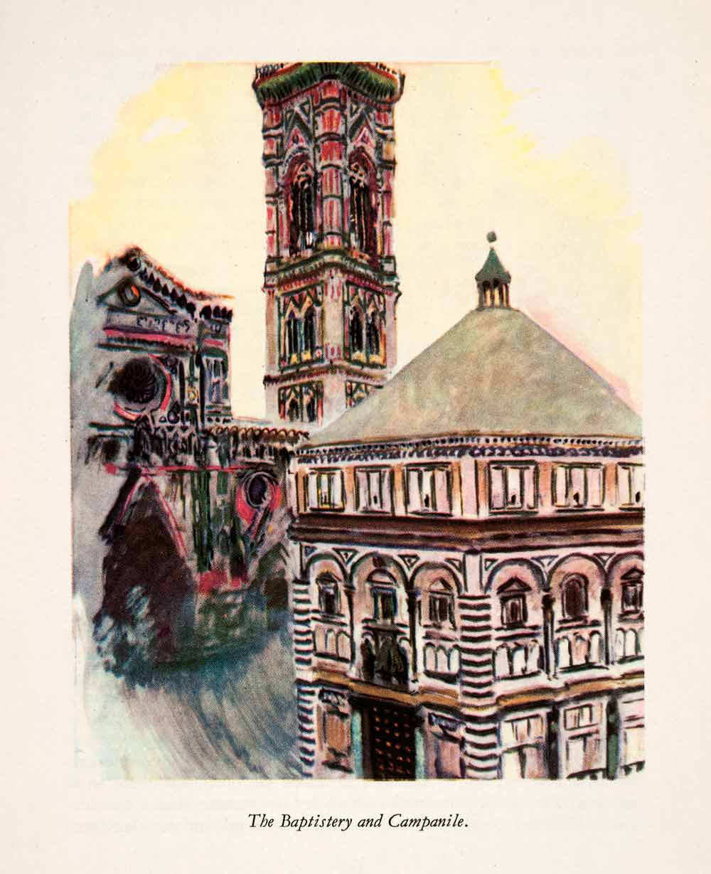 1950 Photolithograph Baptistery Campanile Florence Italy Architecture Bell XGHA2