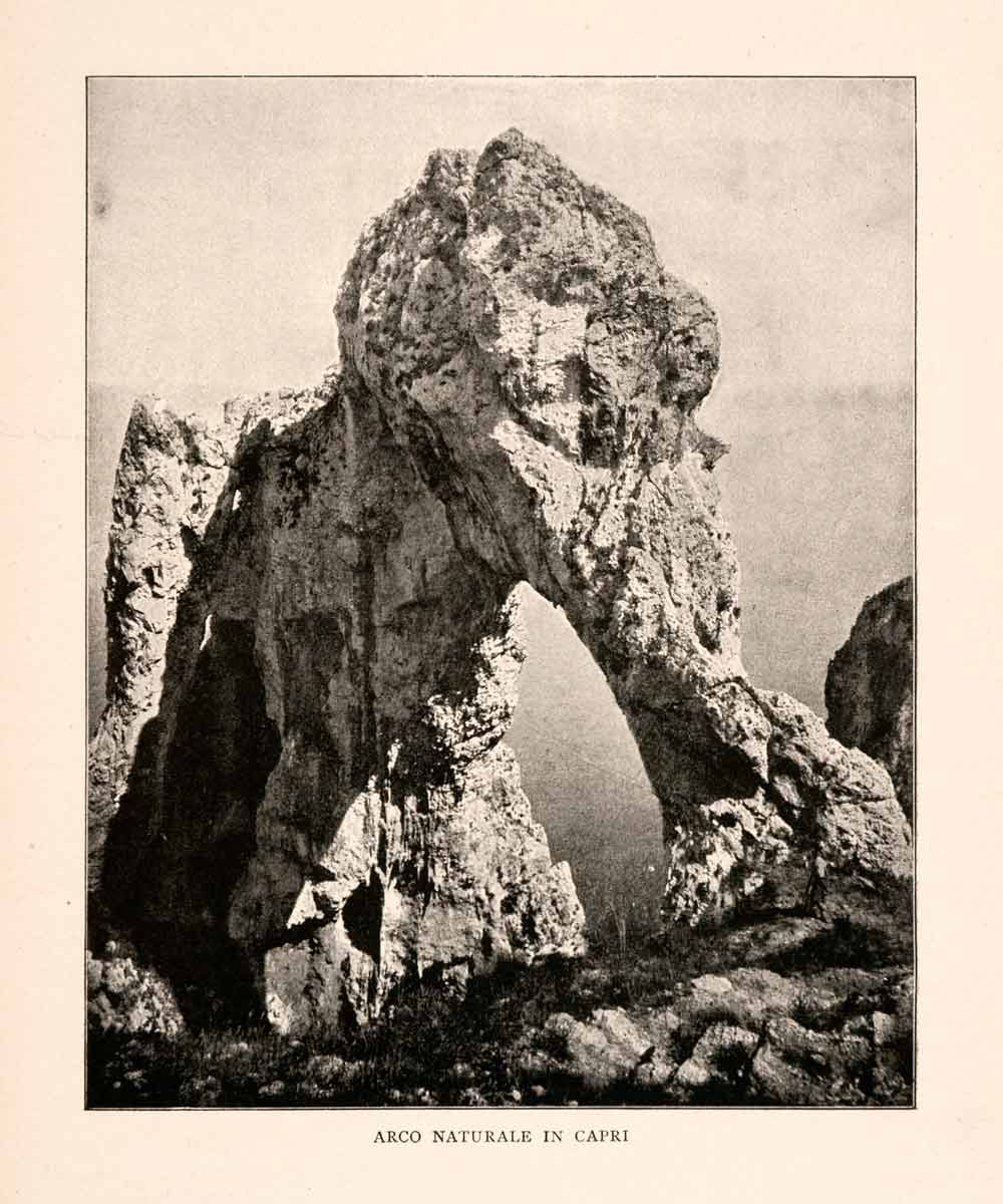 1904 Print Arco Naturale Capri Italy Natural Arch Paleolithic Limestone XGHA3