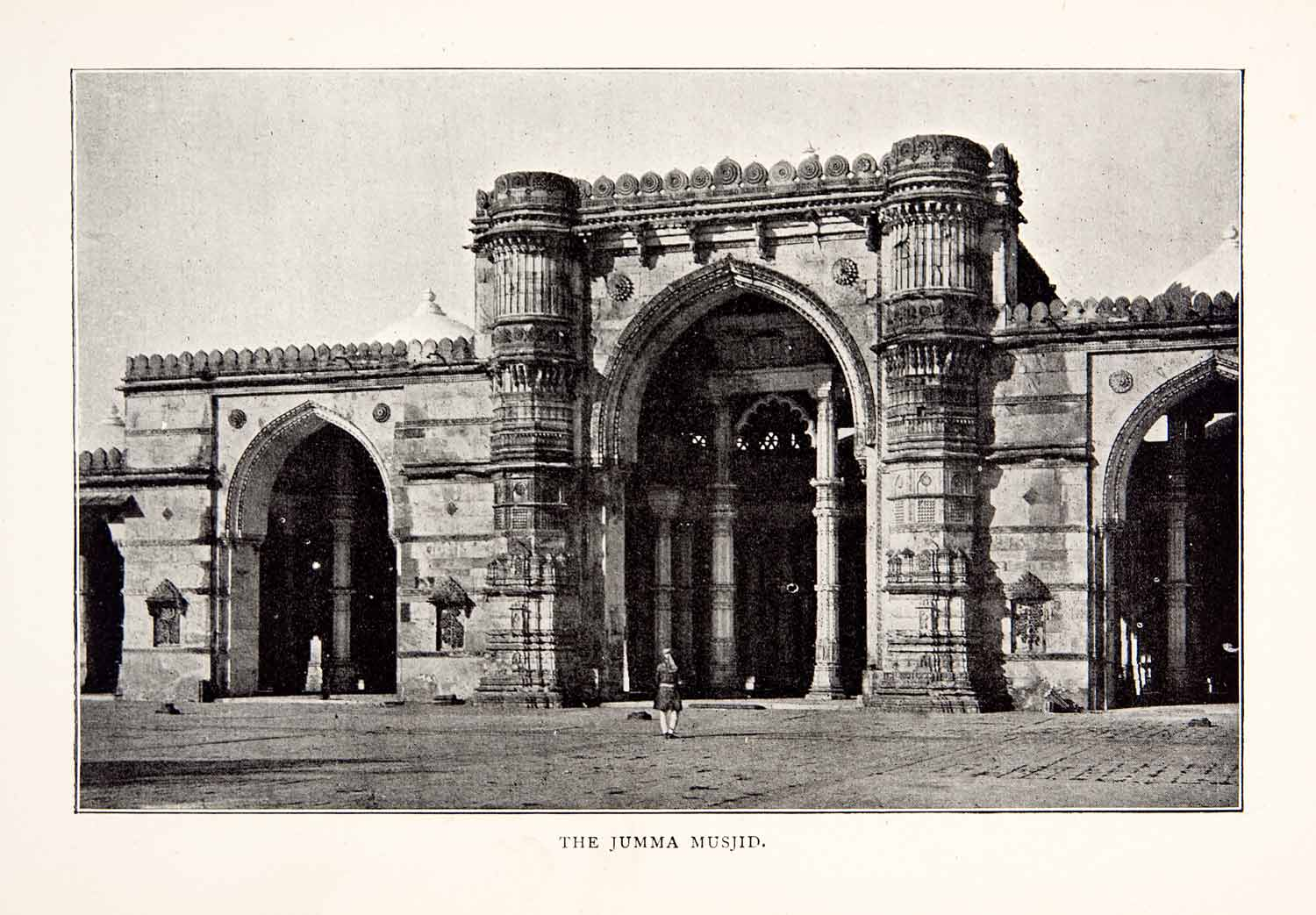 1903 Print 16th Century Jama Masjid Mosque Delhi India Historic Image XGHB2