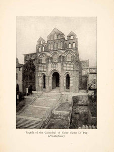 1917 Print Facade Cathedral Nortre Dame Le Puy Roy L. Hilton Roman XGHB6