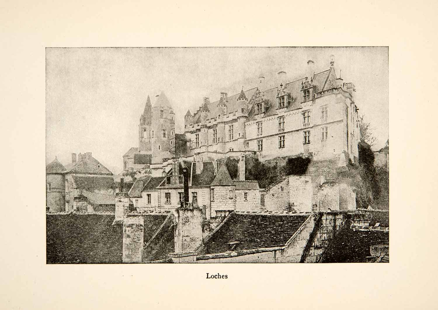1917 Print Loches Mosastery France Roy L. Hilton Counts Anjou Palace XGHB6