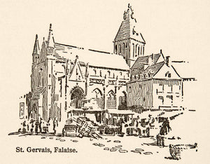 1917 Wood Engraving Saint Gervals Falaise France Roy L. Hilton Church XGHB6