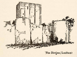 1917 Wood Engraving Donjon Loches France Roy L. Hilton Castle Fortress XGHB6