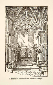 1917 Wood Engraving Amboise Saint Hubert's Chapel France Roy L. Hilton XGHB6