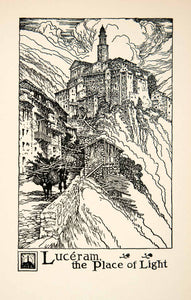 1927 Lithograph Luceram France Place Light Cityscape Mountain Thornton XGHB7