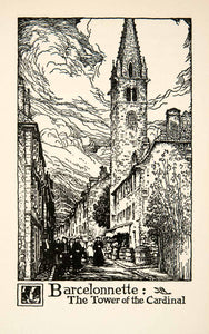 1927 Lithograph Barcelonnette Tower Cardinal Ubaye Valley France Thornton XGHB7
