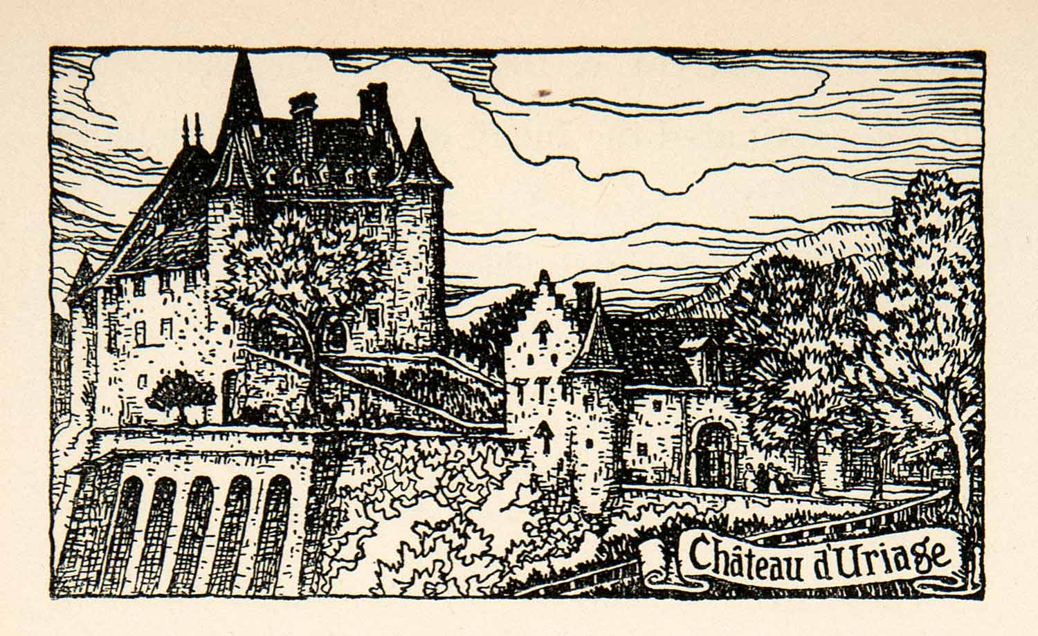 1927 Lithograph Chateau d'Urage France Castle Fortress Cityscape Thornton XGHB7