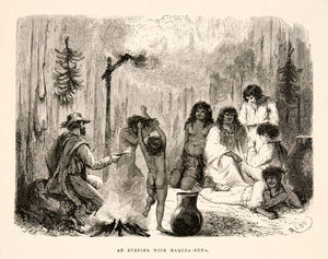 1875 Wood Engraving Campfire Maquea Tribe Indians South America Runa Nude XGHC1