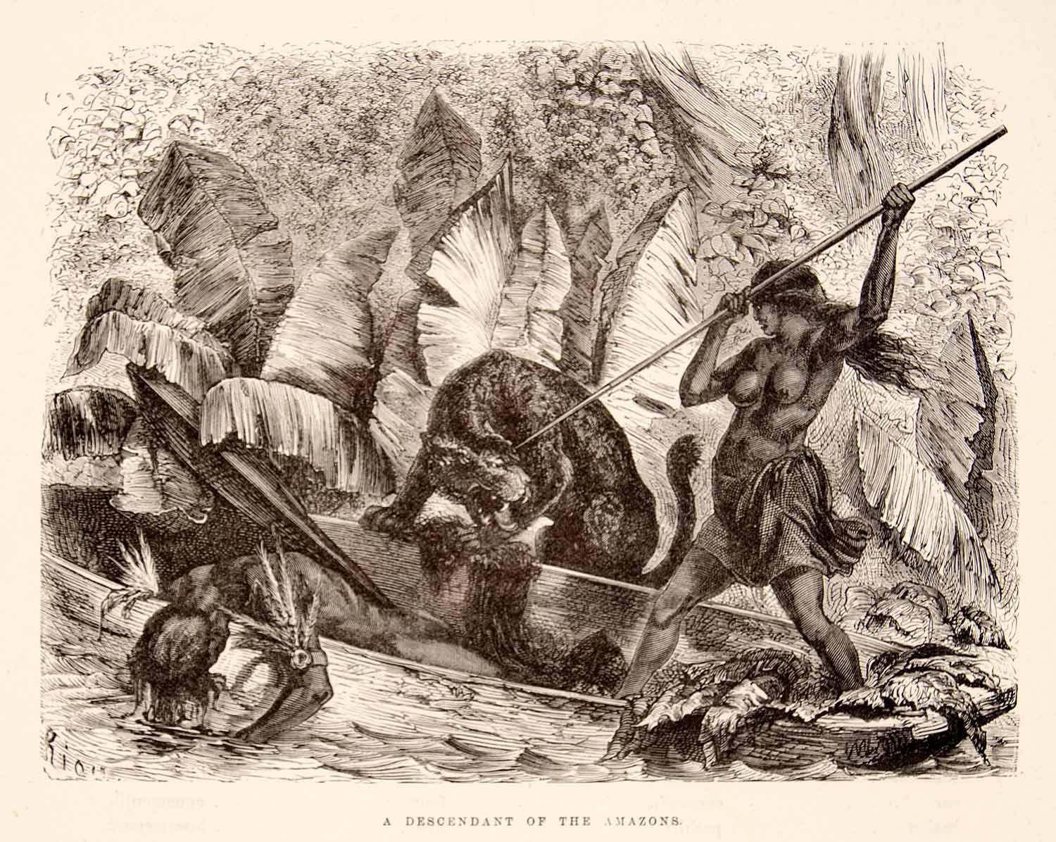 1875 Wood Engraving Ticuna Indian Tiger Attack Lance Canoe Atacoari River XGHC1