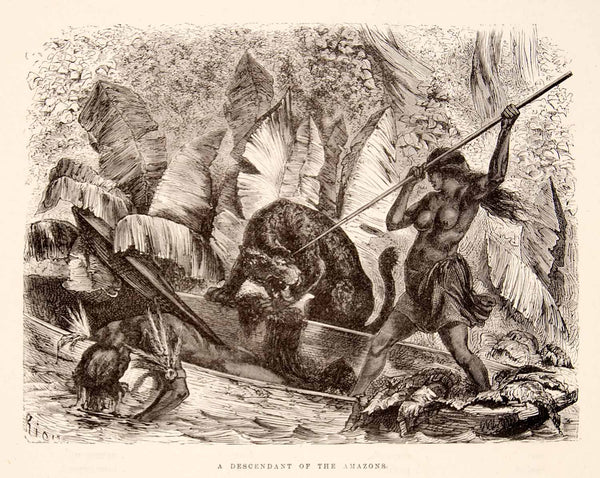 1875 Wood Engraving Ticuna Indian Tiger Attack Lance Canoe