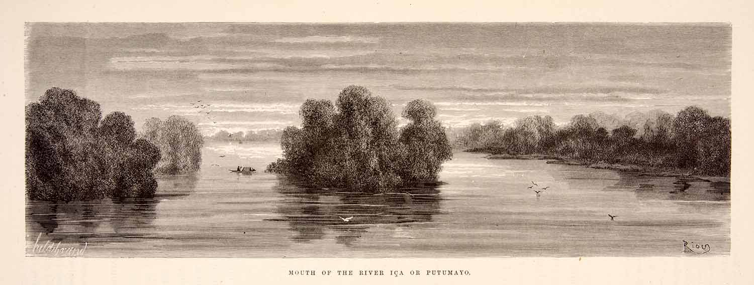 1875 Wood Engraving Mouth River Ica Putumayo Brazil South America XGHC1
