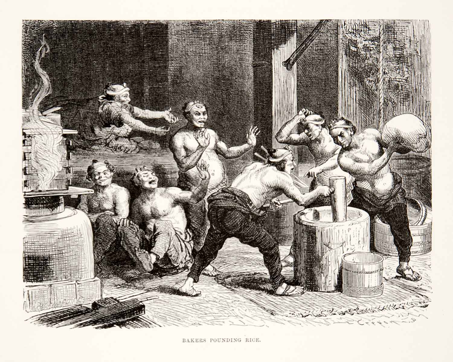 1874 Wood Engraving Japan Japanese Bakers Pounding Rice Mill Workers Mochi  XGHC8