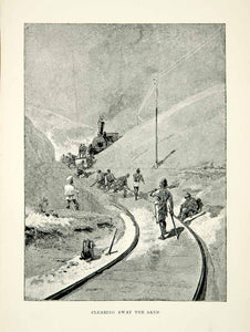 1889 Wood Engraving Train Locomotive Track Clearing Sand Railroad Railway XGHD1