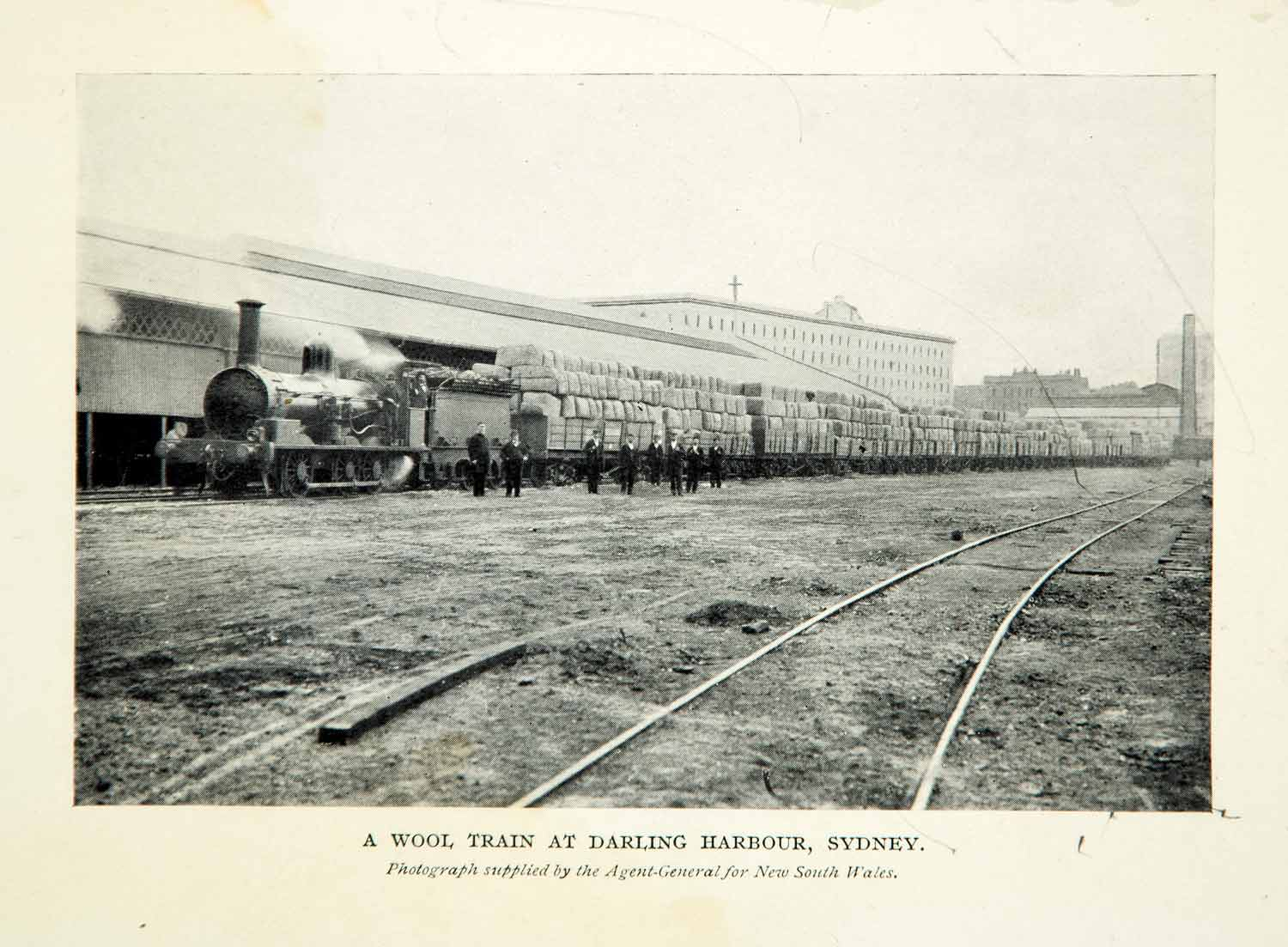 1910 Print Wool Train Darling Harbour Sydney Historical Australia Train XGHD8
