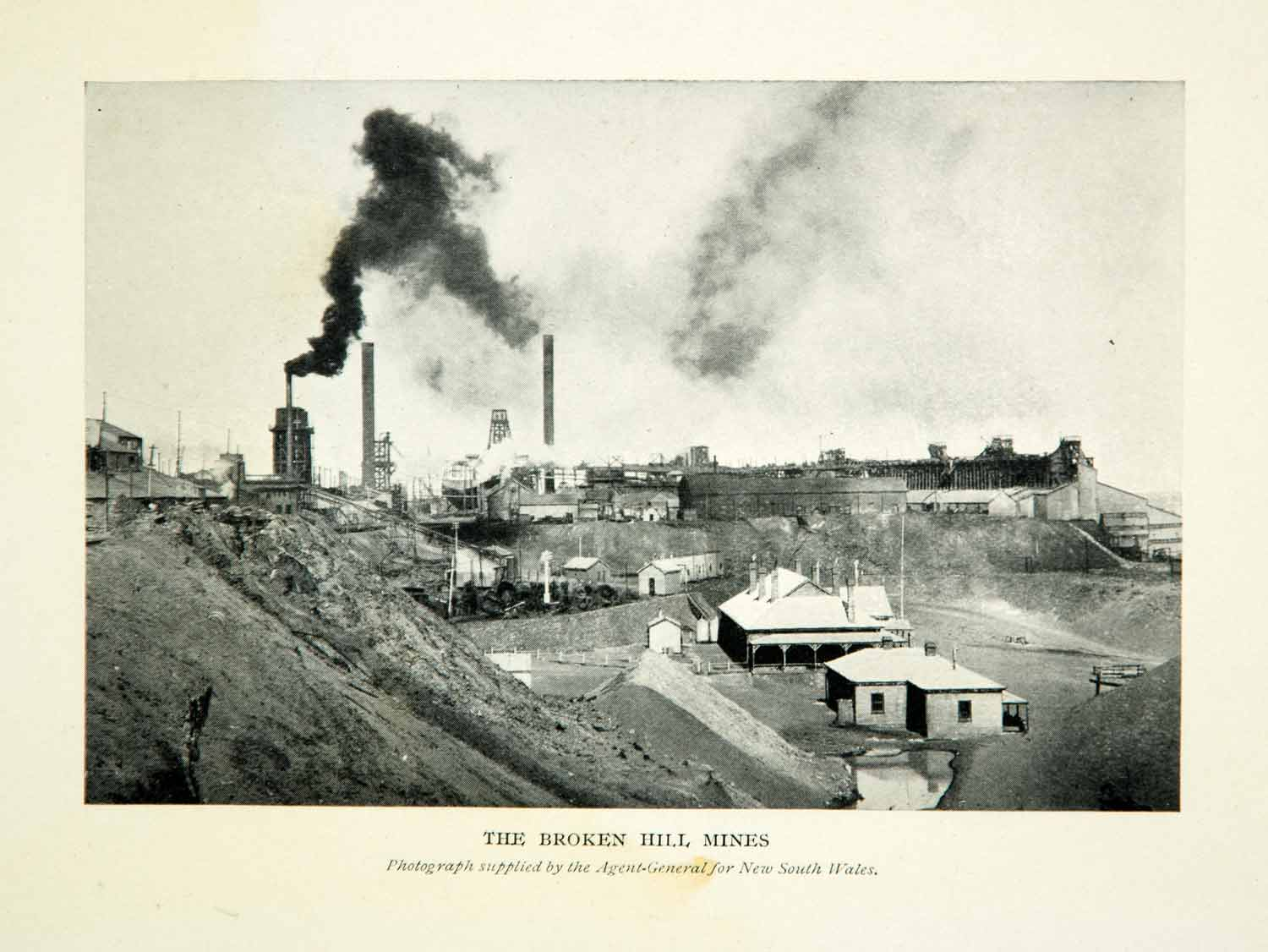1910 Print Broken Hill Mines New South Wales Smokestack Outback Australia XGHD8