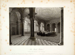1845 Steel Engraving F Mackenzie Bank of England Parlor Court Governor XGHD9 - Period Paper