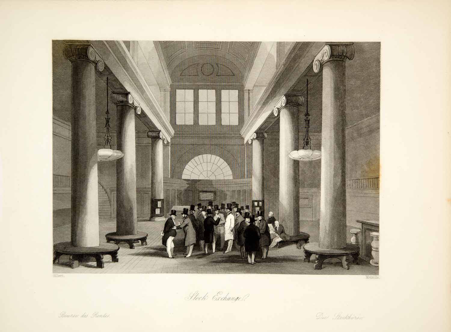 1845 Steel Engraving J Gilbert London Stock Exchange England Victorian XGHD9 - Period Paper