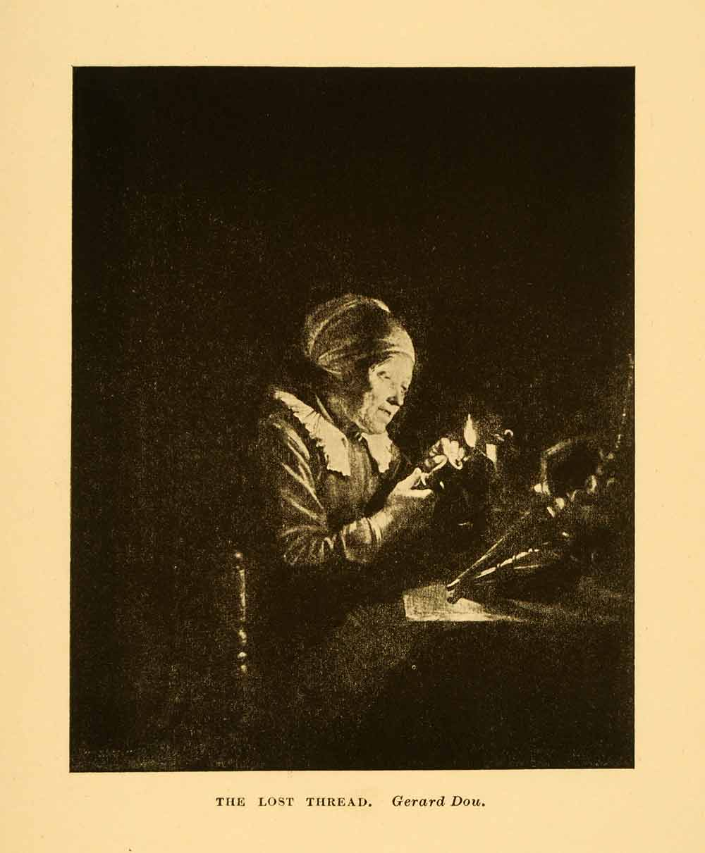 1908 Print Netherlands Lost Thread Gerard Dou Sowing Old Woman Domestic XGI4