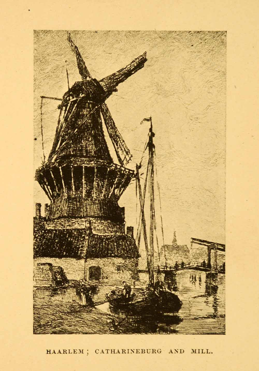 1908 Print Netherlands Holland Haarlem Catharineburg Windmill Boat Sail XGI4 - Period Paper