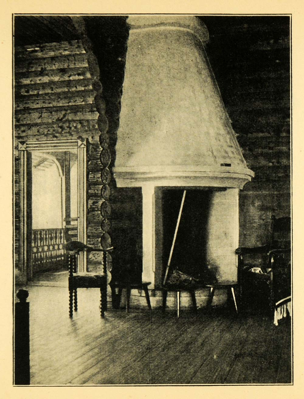 1902 Print Fireside Idyll Norway Norge Interior Wooden Home Timber XGI8