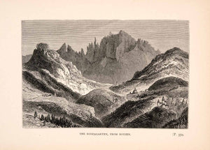1905 Wood Engraving Rosengarten Botzen Dolomite Mountain Italy Peak Summit XGIA3